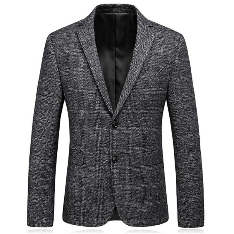 Tangku 2018 Nouvelle Arrivée De Laine de Blazer Pour Hommes Slim Fit Gris Hommes Laine Blazer Mâle Occasionnel Veste de Costume D'affaires