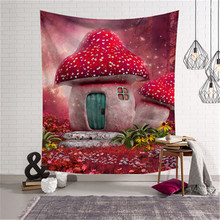 SBB sweet girl fancy Northern Europe bedroom decorate cartoon lovely Mushroom Tapestry Bedding series Wall painting 3d