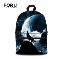 FORUDESIGNS Cool Wolf Dogs Printing Canvas Schoolbags Backpack,Popular School Bags for Teenagers Boys Soft Back Student Book Bag