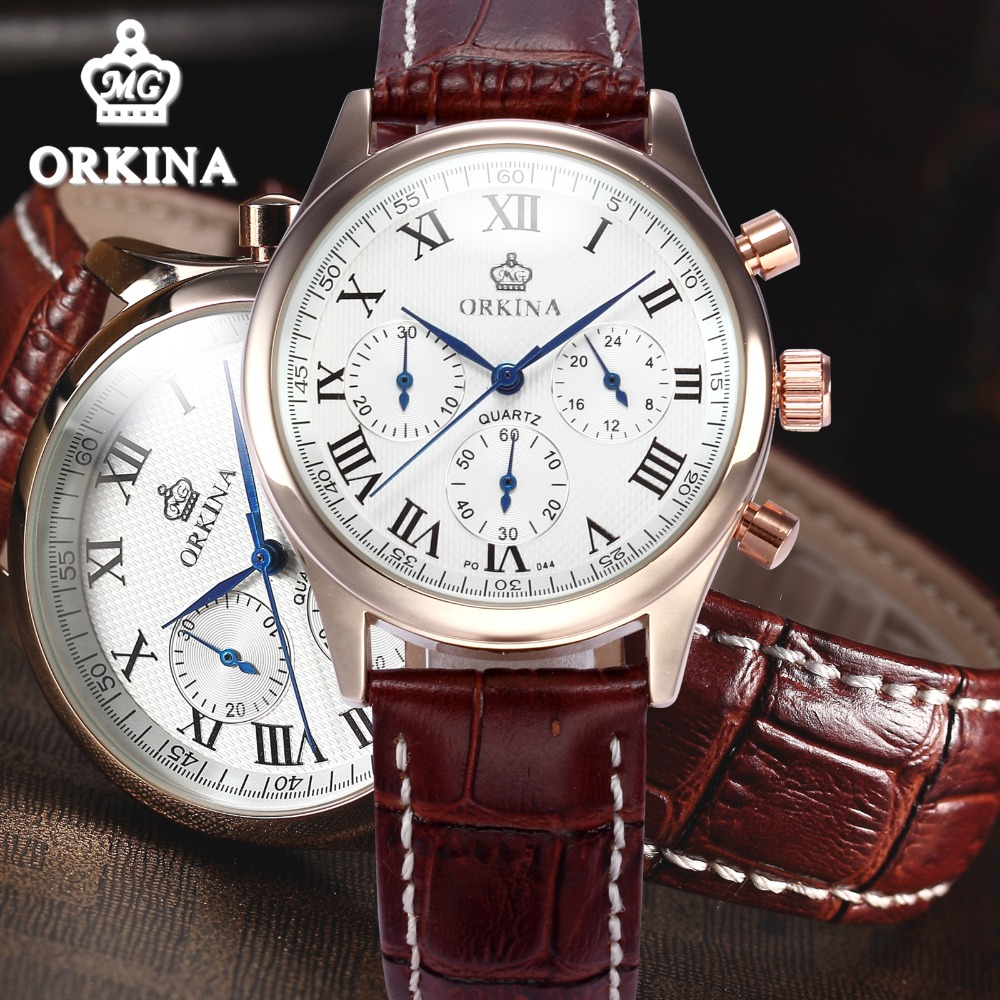Orkina Mens Business Chronograph Quartz Watch Men 2016 Original Brand Leather Japan Movement Dress Wrist Watches Clock цена