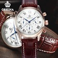 Orkina Mens Business Chronograph Quartz Watch Men 2016 Original Brand Leather Japan Movement Dress Wrist Watches Clock