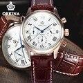 Orkina Mens Relógio Cronógrafo De Quartzo Dos Homens de Negócios 2016 Marca Original de Couro Movimento Japão relógio de Pulso Vestido Relógios Relógio