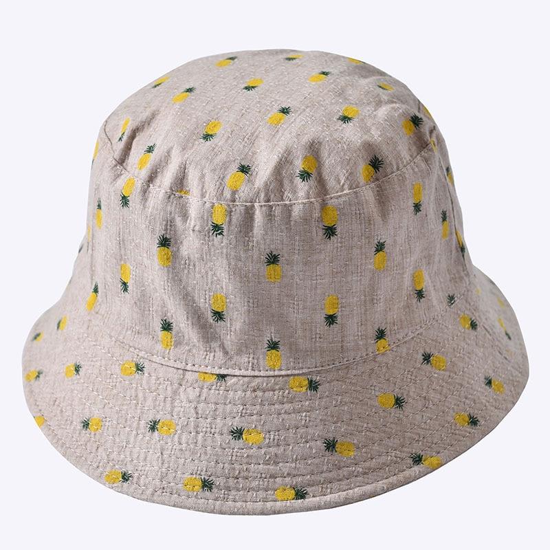 Dashing Summer Wide Brim Casual Sun Hats Women Cotton Bucket Hats Cute Pineapple Print Flat Top Female Outdoor Foldable Fisherman Hats