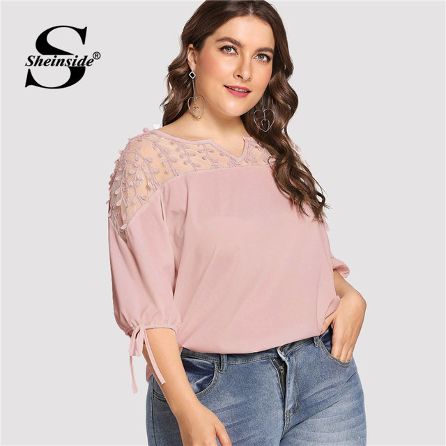 Sheinside Plus Size Pink Contrast Mesh Knot Cuff Blouse Summer Tops for Women 2019 V neck Half Sleeve Elegant Office Blouses 3