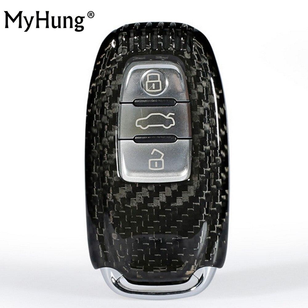 New Car <font><b>Accessories</b></font> Key Carbon Fiber Case Shell Auto Key Chain Key Cover Key Bag Car Styling For Audi A4L A5 A6L Q5 Q7 S6 A7 A8L