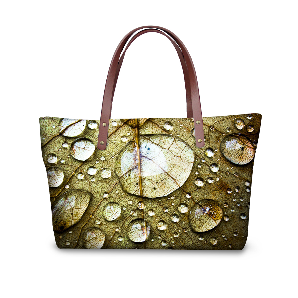 Fashion 3D Leaves Printing Messenger Bags for Women Brand Designer Ladies Top-handle Bags Female Shopping Totes Bag