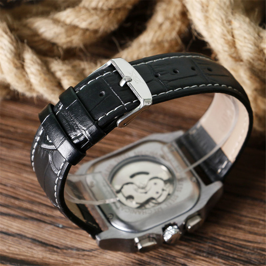 JARAGAR Mechanical Watches Men Fashion Genuine Leather Wrist Watch Automatic Date Day Display Watches Mens Clock with Gift Box (7)