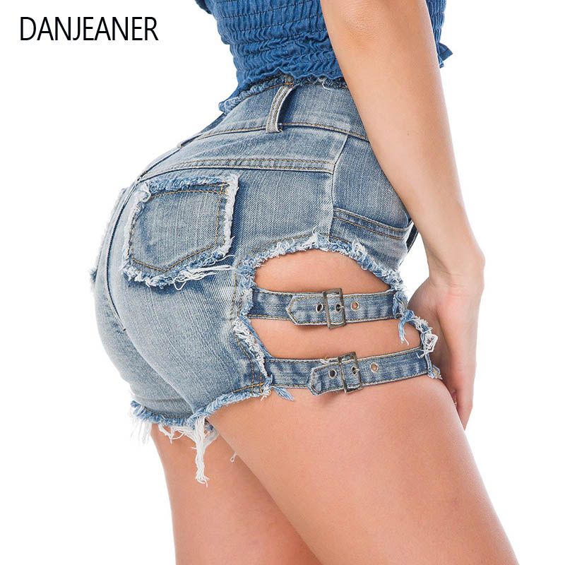Danjeaner Bf Style Women High Waist Hollow Out Denim Shorts Sexy Mini Tassel Booty Shorts For Woman Nightclub Wear Plus Size