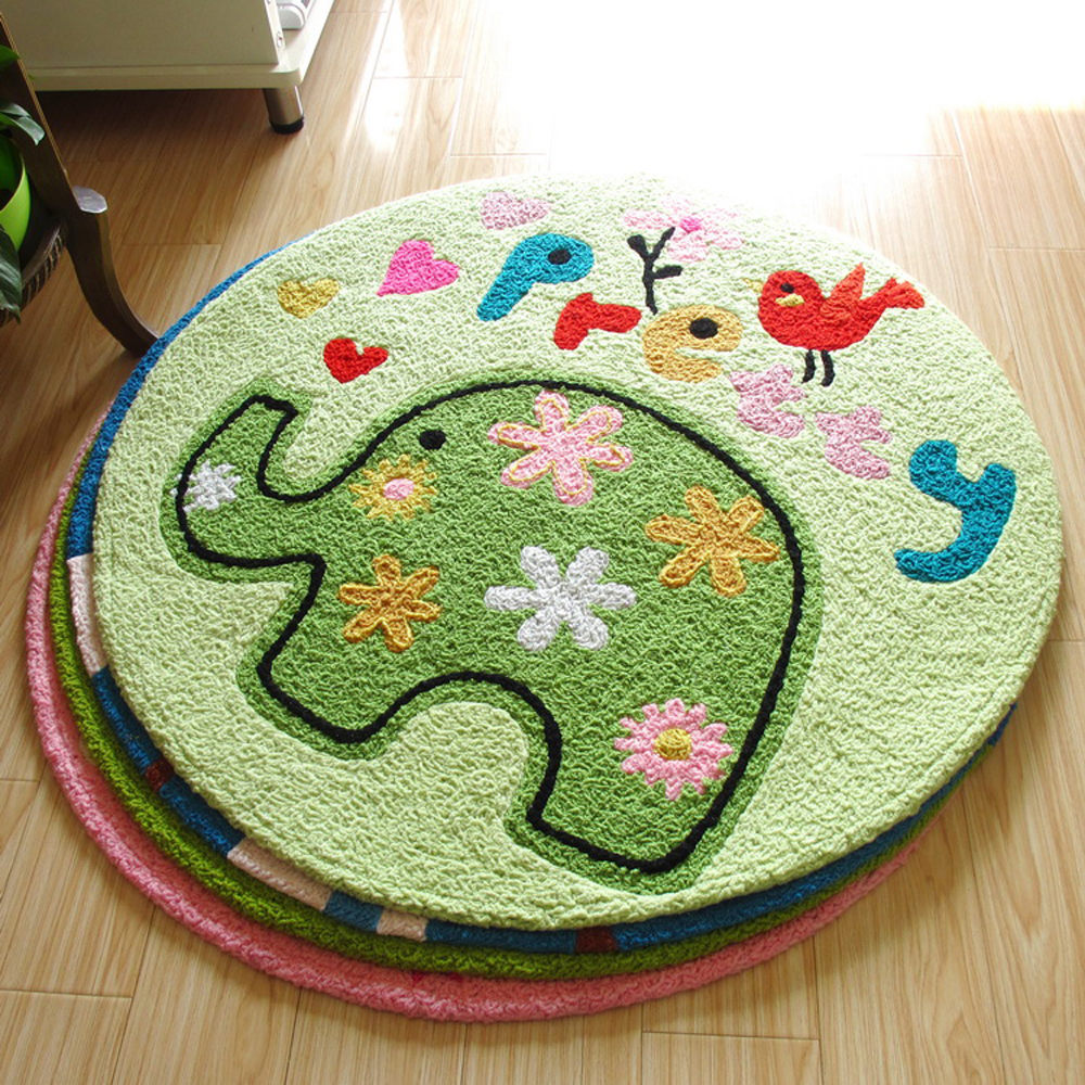 Colorful Handmade Knitting Embroidery Art Round Rug And