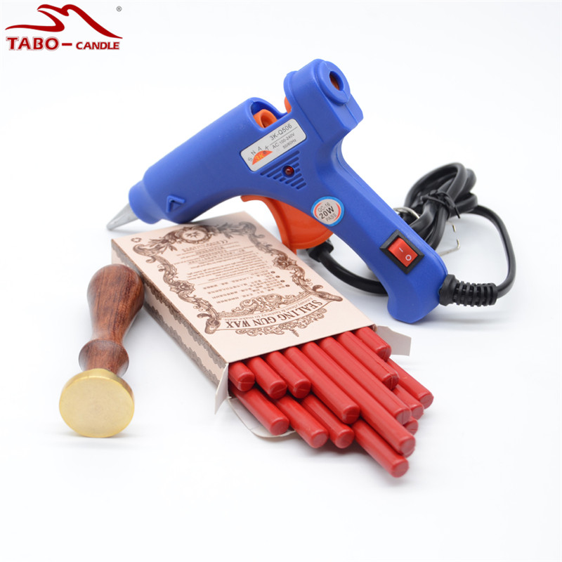 Retro Red Sealing Wax Stick with Custom Made Stamp 20W Flexible Hot Glue Gun Included for Your Wedding Invitation Decoration 10pcs wedding invitation card decoration sealing wax stick with exciting color for flexible glue gun