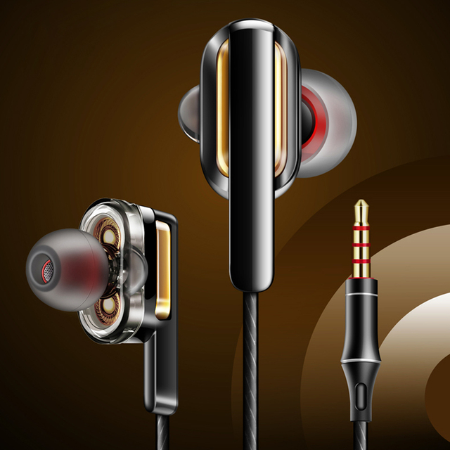 Оригинальные наушники Fonge 3,5 мм X3 с двумя динамическими наушниками в ушах с тяжелыми басами и объемным звуком 360 градусов с микрофоном