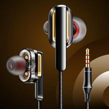 Fonge original 3.5mm x3 duplo dinâmico in ear fone de ouvido baixo pesado som surround de 360 graus earburds com microfone