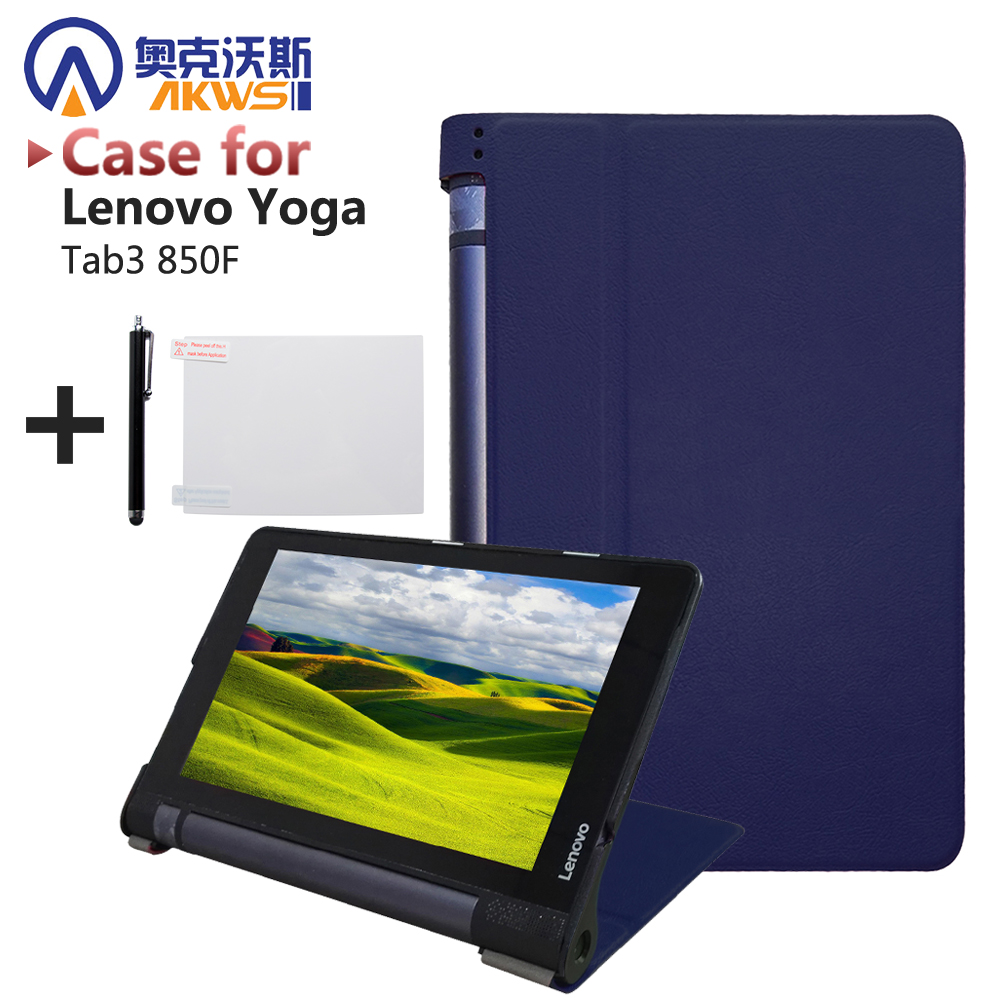 Ultra thin smart PU leather cover case stand cover case for 2015 lenovo Yoga tab 3 8 850F tablet +free film+free stylus 3 in 1 new ultra thin smart pu leather case cover for 2015 lenovo yoga tab 3 850f 8 0 tablet pc stylus screen film