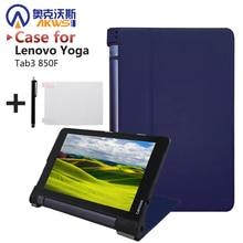 """Ultra delgada inteligente PU cubierta de cuero del caso del soporte para 2015 Yoga lenovo tab 3 8 """"850F tablet + free film + stylus libre"""