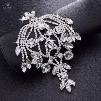 30pcs Magnificent Glass Strass Tassel Bridal Shoulder strap Appliques Rhinestone Patches Sew on DIY Shiny Wedding Jewelly HD-525
