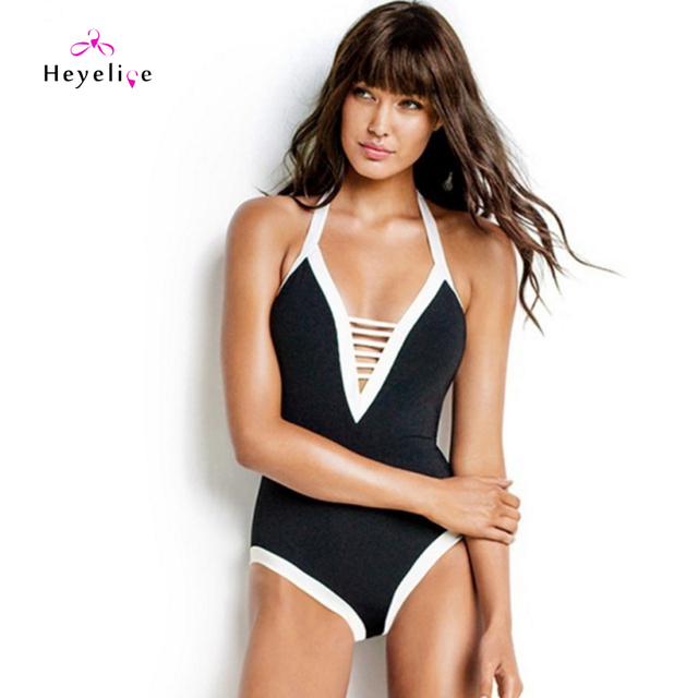 41f81d38ee24c New Black Swimwear Women Plunging Neck Low Back Bathing Suit One Piece  Swimsuits Sexy Monokini Hollow Bodysuit Trikini Swim Suit