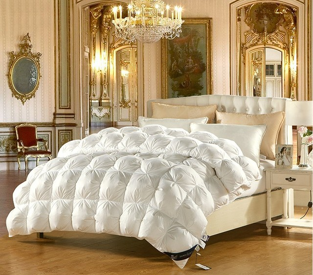Duvet d\'oie Couette King Size Reine Complet Lits Blanc Rose Satin ...