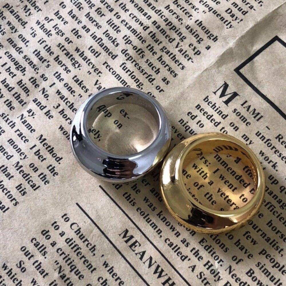 Bague Simple en or et or blanc design européen froid métal vent bague anillos mujer anel aneis anelli bague femme bisutérus