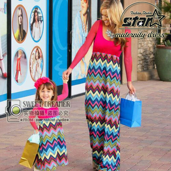 Summer 2016 New Arrival Mother and Daughter Long Sleeve Fashion Girls Outfits Mix Colorful Fall Dress Family Matching Clothes