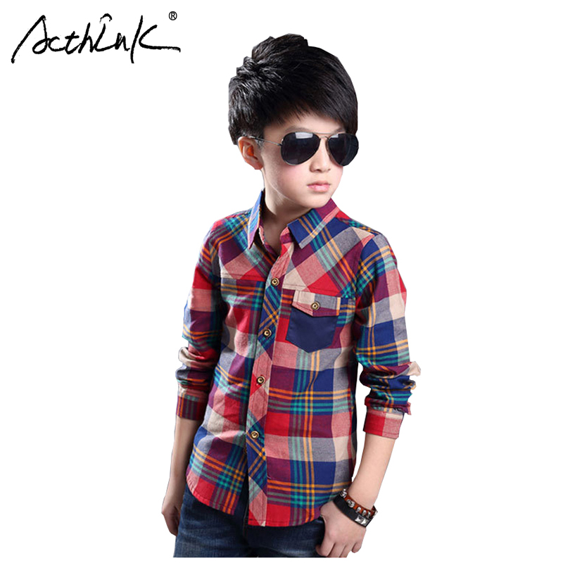 ActhInK New Boys Long Sleeve Plaid Shirts Teen Dress Spring Cotton Kids Casual Autumn