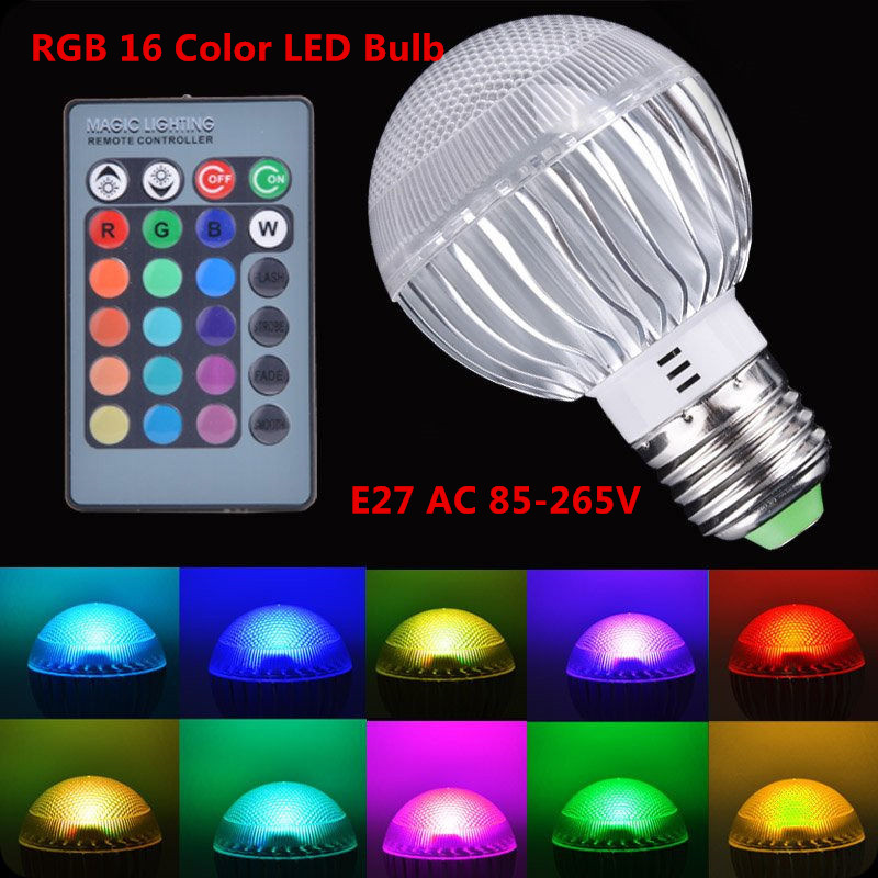 10pcs New Arrival Led Rgb Bulb E27 4w 15w Ac 85-265v Rgb Led Lamp With Remote Control Multiple Colour Led Rgb Lamp