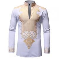 Men fashion African design casual long sleeve white shirt men dress shirt mens shirts casual plus size harujuku shirt