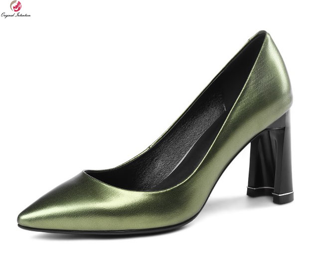 Original Intention High-Quality Women Pumps Sheepskin Square High Heels Sexy Pointed Toe Black Green Pumps Woman US Size 3-10.5 original intention new fashion women pumps square toe square heels pumps cow leather stylish black shoes woman us size 3 5 10