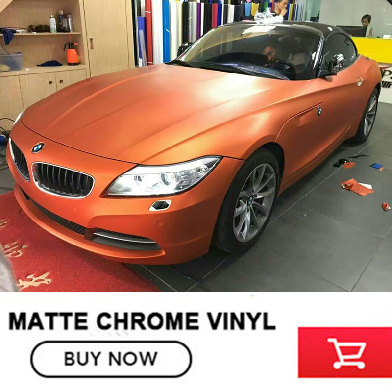 orange vinyl sticker Car styling Chrome matte vinyl film with free bubbles for skoda for audi With Air channel free shipping racing discovery car styling for ford focus 2 opel skoda audi a4 personality refit vinyl car sticker waterproof glue adhesive