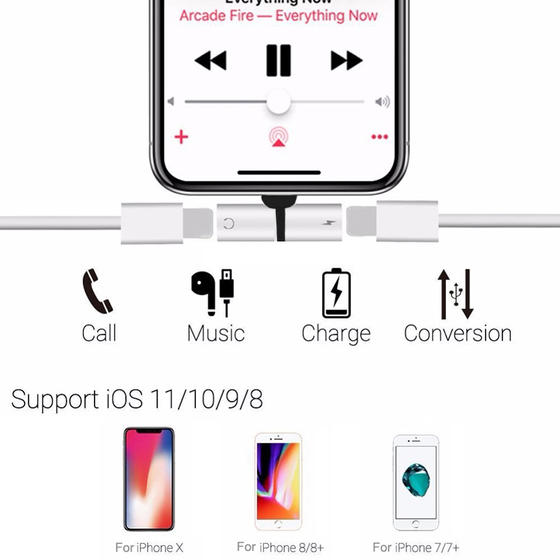iphone audio charging dual adapter splitter cable