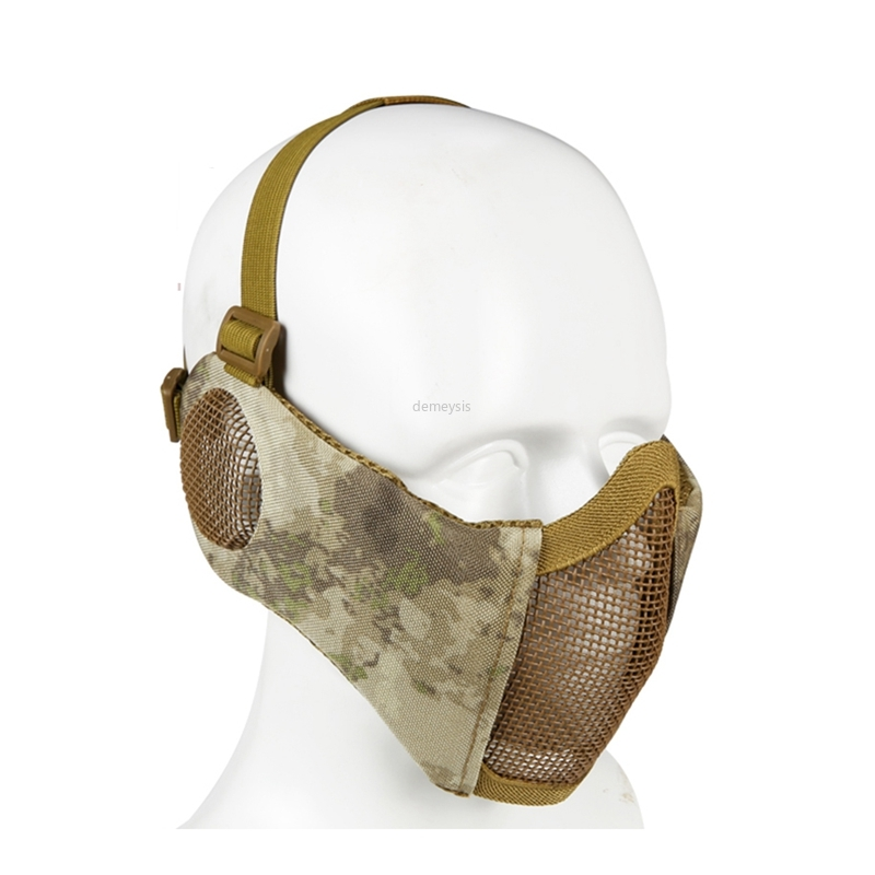 Tactical Half Face Metal Steel Net Mesh Mask Hunting Protective Guard Mask Airsoft Ear Protection Half Face Mesh Mask