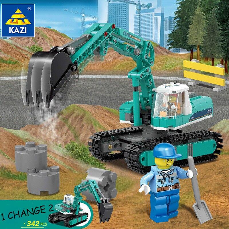 цена на Engineering Excavator Vehicles Bulldozer Model Building Blocks Compatible Legoed City Construction Bricks Children Toy 80543