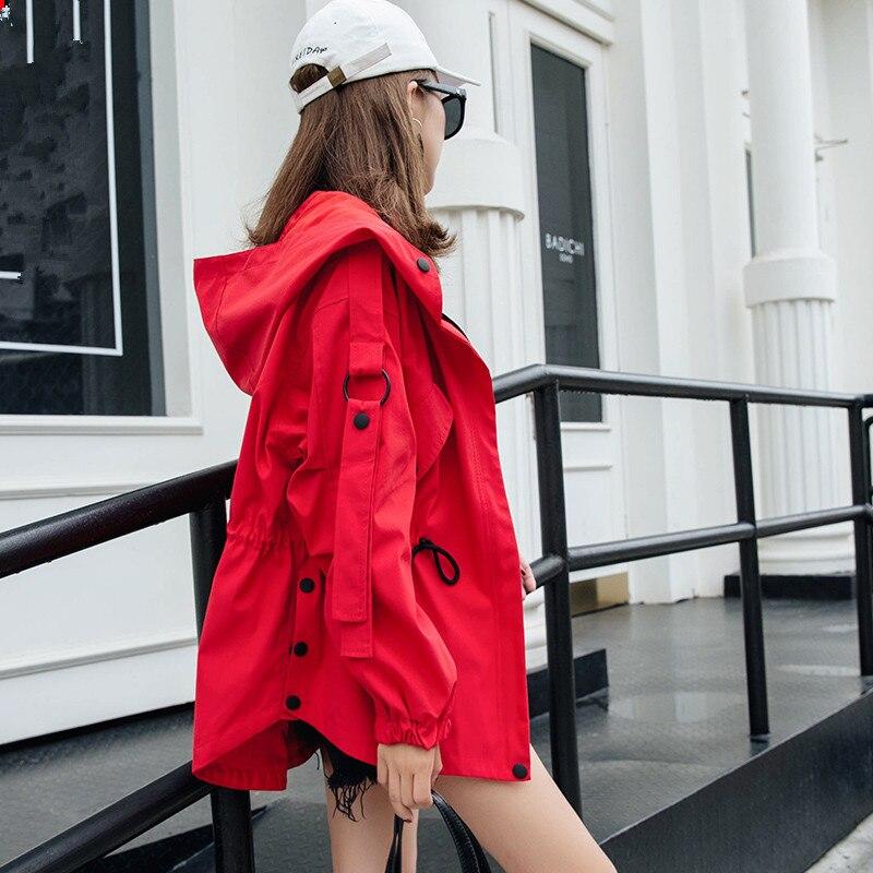Mode Korte Windjack Vrouwelijke 2019 Lente Herfst Nieuwe Koreaanse Losse BF korte manchic Tooling Hooded Trenchcoat Voor Vrouwen X308-in Loopgraaf van Dames Kleding op  Groep 1