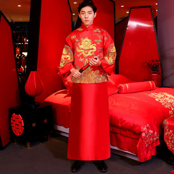 Vintage Chinese Style Male Marriage Suit Traditional Men Long Cheongsam Vestidos Mandarin Collar Costumes Set Bridegroom Clothes