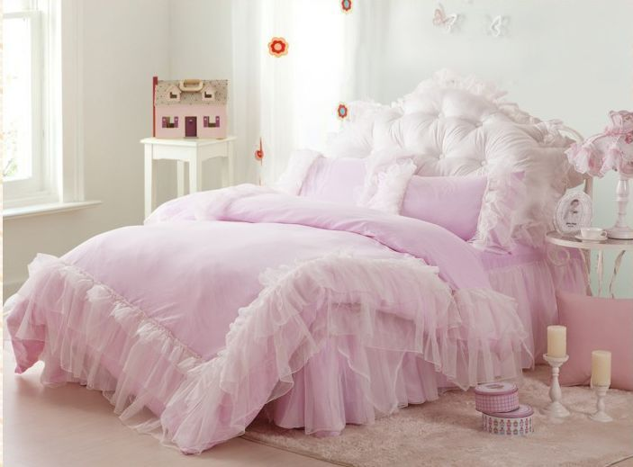 4pc Luxury Pink Snow White Princess Bedding Sets Beautiful