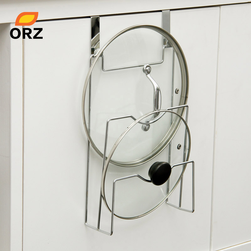 ORZ Cabinet Door Hook Pan Pot Cover Lid Rack Stand Stove Organizer Kitchen Storage Holder Rack Shelf Kitchen Accessories