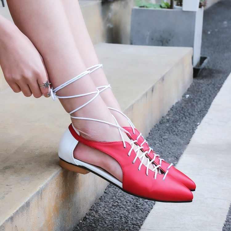 Duży rozmiar 11 12 13 14 15 16 17 płaskie sandały na lato panie damskie buty kobieta płytkie sznurowane płaskie podeszwie sandały