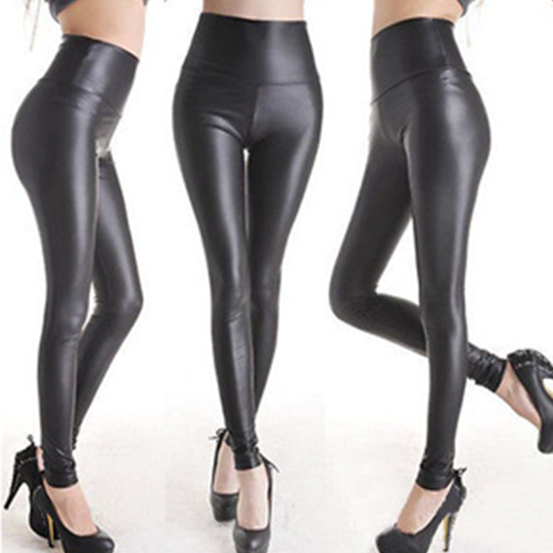 2019 Thicken Winter PU Leather Women Pants High Waist Elastic Fleece Stretch Slim Woman Pencil Pants Skinny Trousers W3