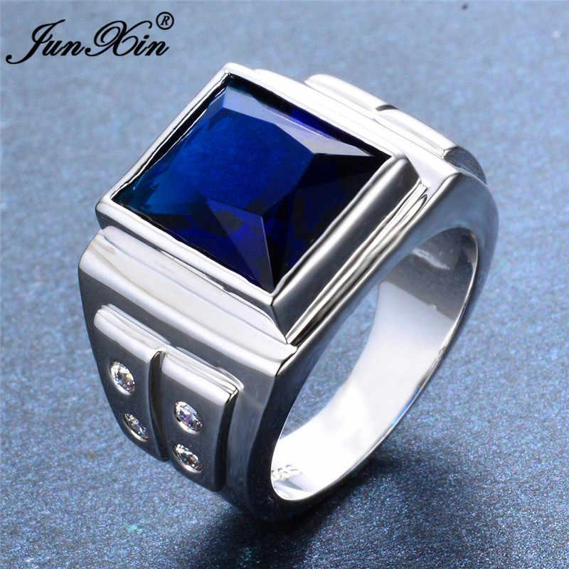 أسلوب بسيط الذكور الإناث الفضة اللون البنصر الأزرق الأبيض الزركون حجر خاتم وعد الحب خواتم الخطبة للرجال والنساء