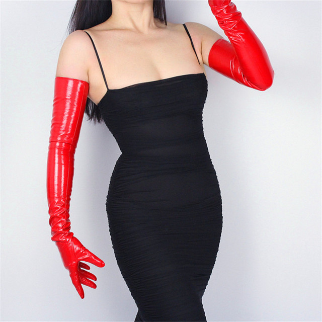 70cm Extra Lange Leder Handschuhe Emulation Leder Schlanke Hand Sexy Weibliche Big Red Patent Leder Rot Frauen Handschuhe WPU09 70