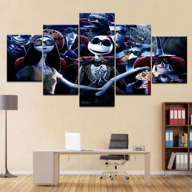 Frame 5 Pcs Poster Nightmare Before Christmas Canvas Painting Hd