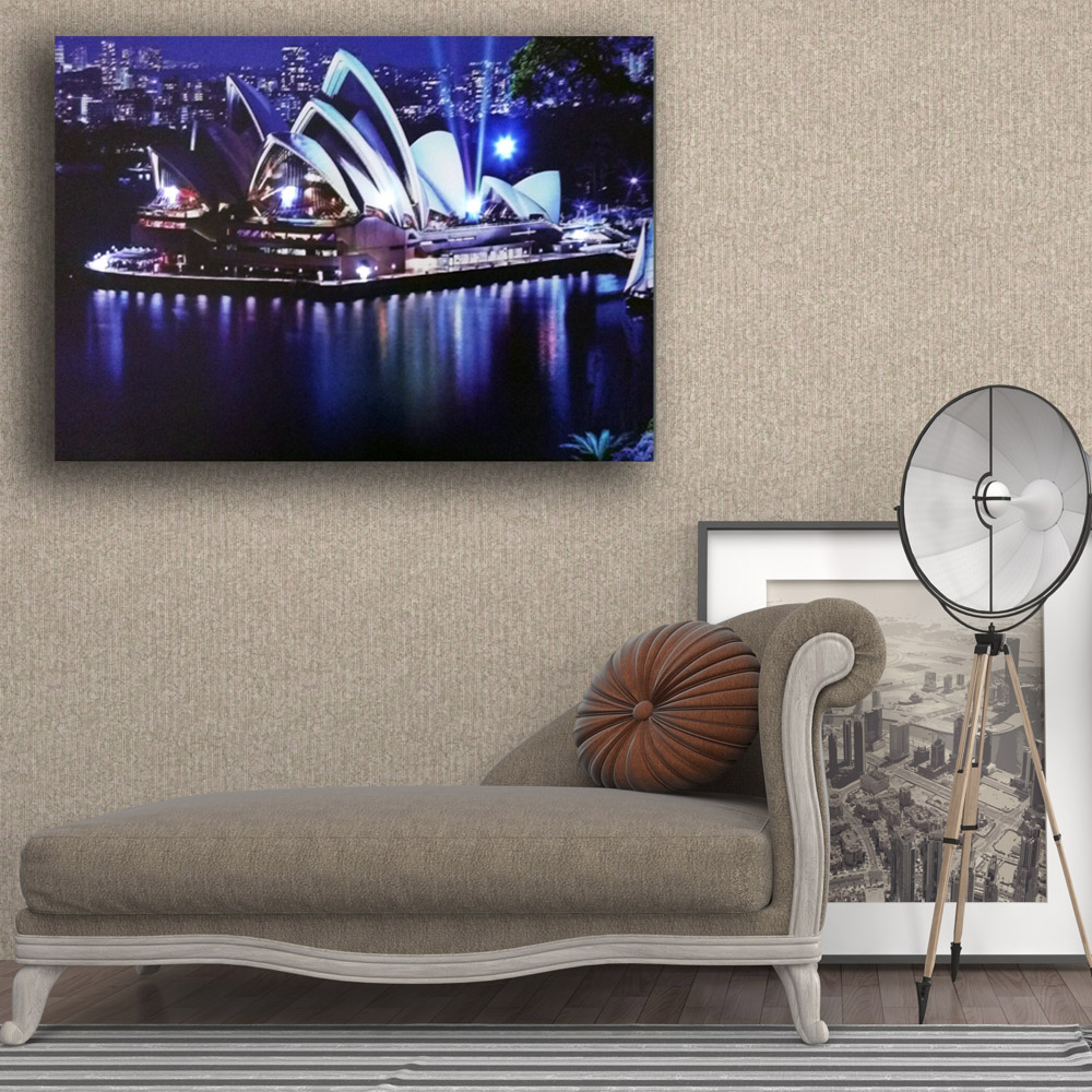 Us 14 39 28 Off Modern Led Wall Picture Sydney Opera House Australia Night Canvas Art Lighted Up Home Decor Hd Painting Artwork Printed Framed In