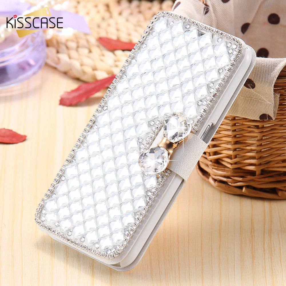 KISSCASE Case For Samsung Galaxy Note 4 5 A5 A7 S5 6 S6 Edge Plus For Sony Z3 Flip Holder Luxury Glitter Rhinestone Shells Cover