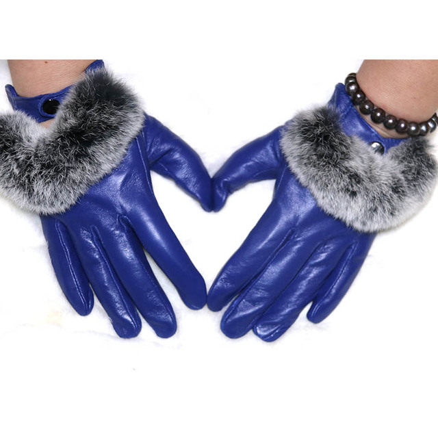 Real Rex Fur Gloves For Women Genuine Leather Winter Gloves Mittens Lady Accessories Solid Warm Adult Leather Female Gloves