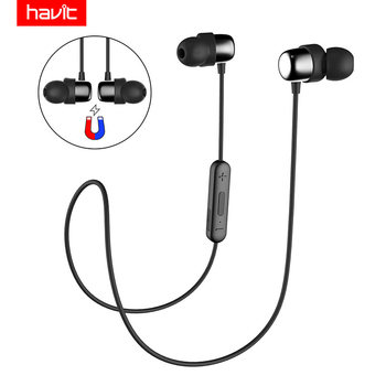 HAVIT Bluetooth Headphone Sport V4.2 IPX5 Sweatproof Magnetic Earplugs Wireless Earphone Waterproof Stereo With Microphone I39