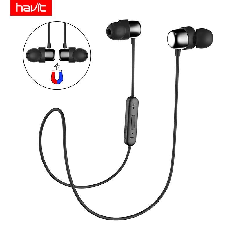HAVIT Bluetooth Kopfhörer Sport V4.2 IPX5 Sweatproof Magnetische Ohrstöpsel Drahtlose Kopfhörer Wasserdicht Stereo Mit Mikrofon I39