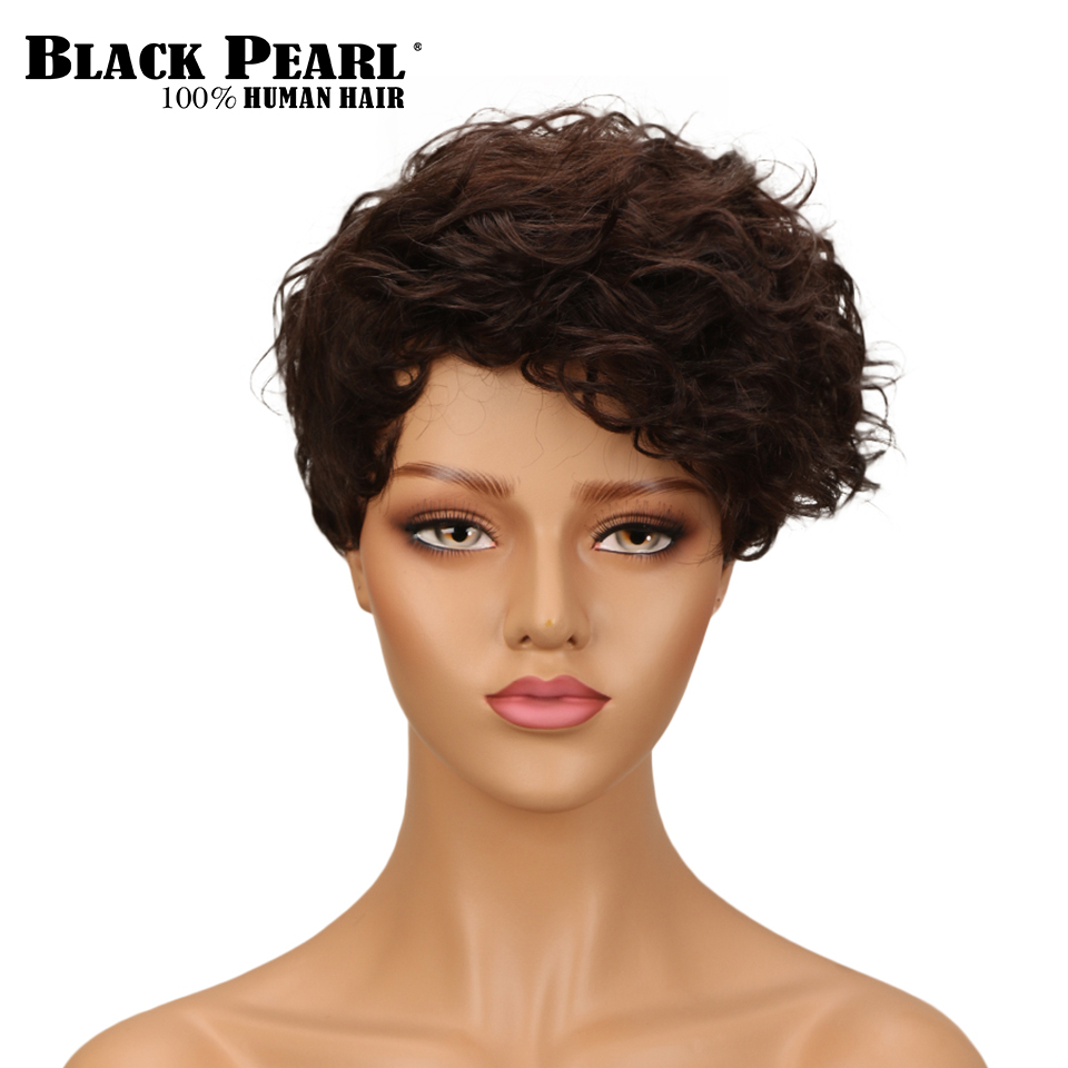 Black Pearl Human Hair Wigs 8  Brazilian Wig Many Colors Short Human Hair Wigs Free Shipping