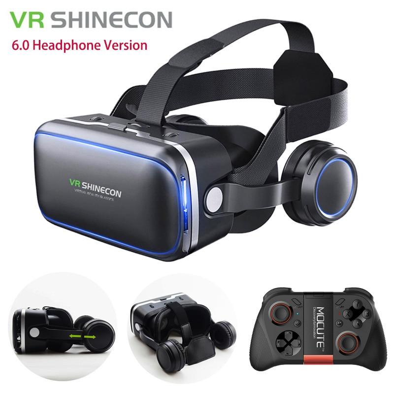 <font><b>VR</b></font> <font><b>Shinecon</b></font> 6.0 Headphone Version <font><b>Google</b></font> Cardboard 3D <font><b>Virtual</b></font> <font><b>Reality</b></font> <font><b>Glasses</b></font> Headset <font><b>Helmet</b></font> Head Mount For 4-6' Phone + Gamepad
