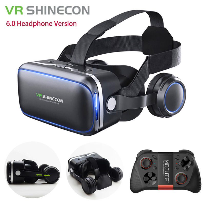 VR Shinecon 6.0 Headphone Version Google Cardboard 3D Virtual Reality Glasses Headset Helmet Head Mount For 4-6' Phone + Gamepad