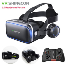 VR Shinecon 6.0 Headphone Version Google Cardboard 3D Virtual Reality Glasses Headset Helmet Head Mount For 4-6′ Phone + Gamepad