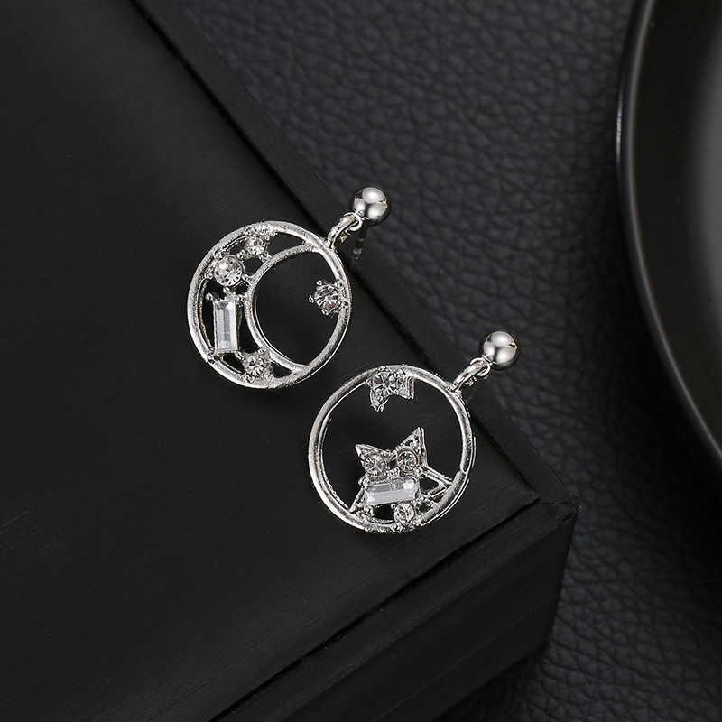 スタームーン耳のスタッドファッションミニゴールデンシルバーステンレス鋼スタッドピアス女性 2019 パーティージュエリーガールフレンドのギフト